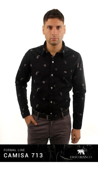 Camisa Hombre Slim Fit Negra Texturada Orso Bianco Xl