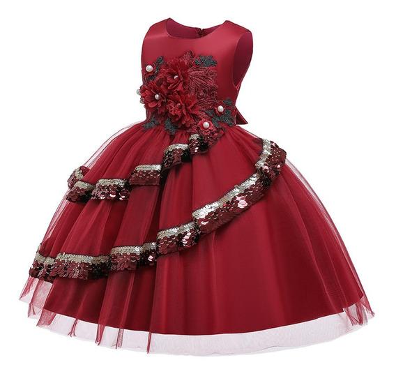 Vestido Niña Fiesta /cumpleaños/olan Lentejuela/vino Dorado