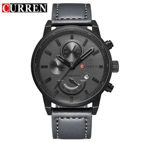 Relógio Masculino Curren Pulseira De Couro Aço Inoxidável