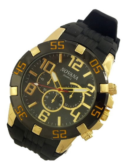 Relógio De Pulso Masculino Novana Pulseira Em Borracha B5715