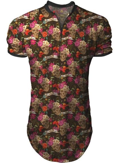 Camiseta Longline Masculina Gola Polo Esporte Skulls Roses