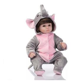 Boneca Bebê Reborn Menina Fantasia Elefante Bela Criança