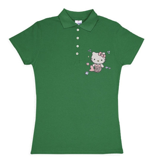 Playera Polo Hello Kitty Sirena Colores Bordada Opcion Personalizada