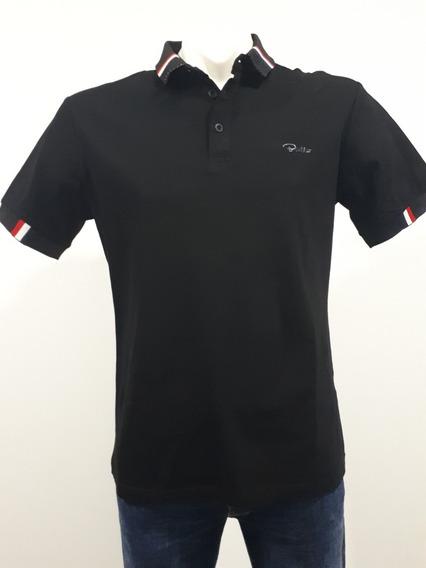 Playera Marca Bratto Tipo Polo Strech Corte Slim 18-01 Negro