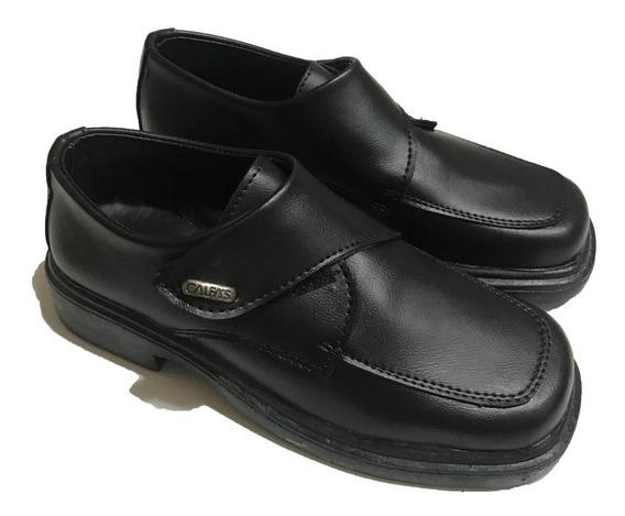Zapato Escolar Bautismo Vestir Con Abrojo Color Negro A.616