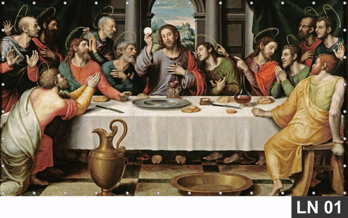 Imagem 1 de 2 de Painel Santa Ceia Jesus 3,00x2,37m Lona Banner Decoração
