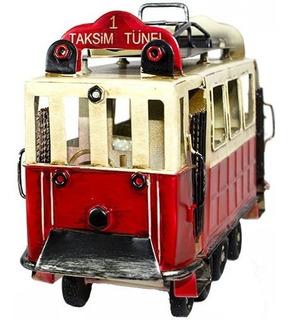 Veículo Miniatura Bondinho Trem Decorativo Vintage Retrô