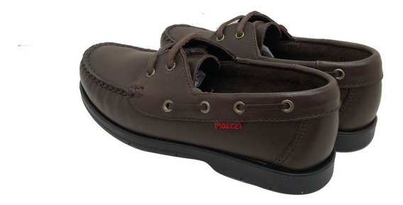 Zapato Nautico Cuero Cosido Suela Goma Marcel Art 500 Mr Pr