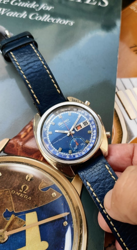 Seiko 6139 Crono Electric Blue Mostrador Azul Metalico