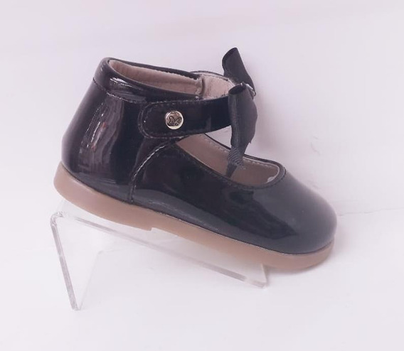 Bota Zapatilla Vestir Bebe Charol Negro Chabelo 12 Al 15