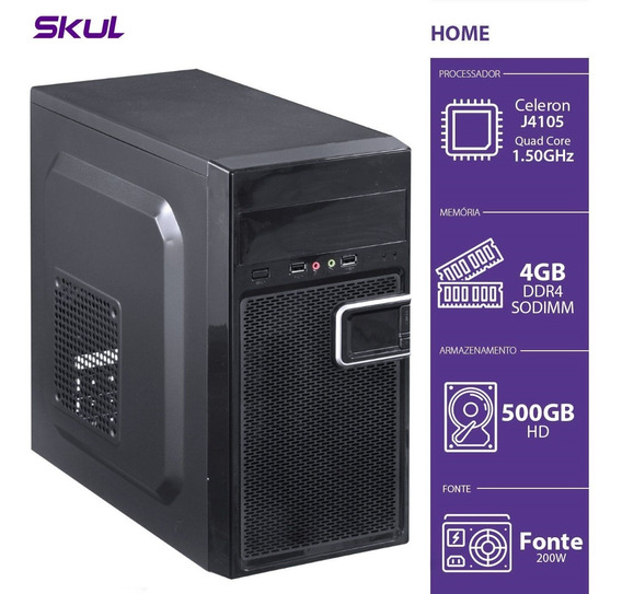 Computador Home H100 - Celeron Quad Core J4105 1.50ghz 4gb D