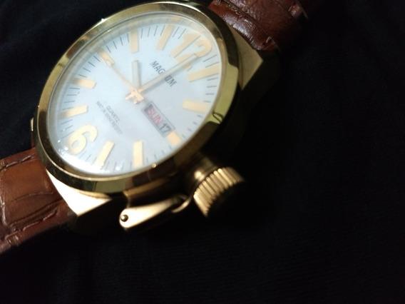 Relógio Magnum Dourado - Pulseira De Couro - 100m Resist