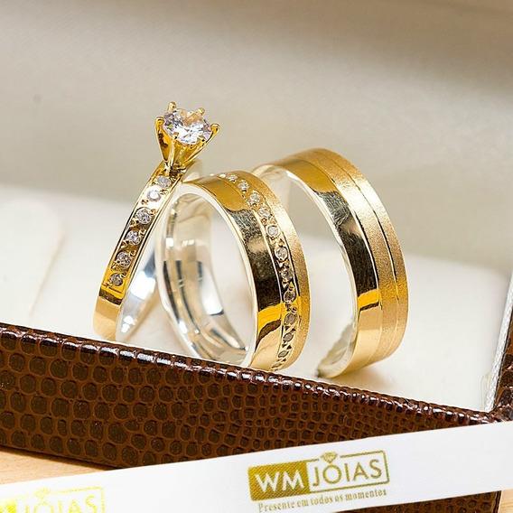 Aliança De Casamento Ouro E Prata + Anel Solitário Wm10212