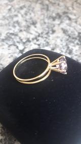 Anel Solitario Em Ouro 18k Com Pedra Ametista 5mm