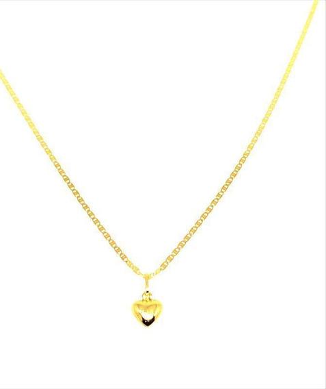 Correntinha Feminina De Ouro 18k Piastrine 40cm Coração