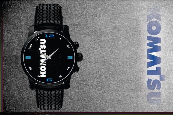 Relógio De Pulso Personalizado Logo Komatsu Retroescavadeira Pulseira Borracha Pneus Top 001