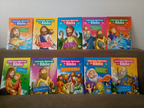 Kit 10 Livros - Colorindo Histórias Da Bíblia