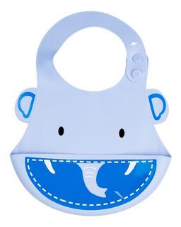 Babador Cata Migalhas Silicone Elefante Azul Kababy 1037e
