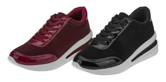 Kit 02 Sneakers Ziper Calce Fácil Plataforma Tenis Casual