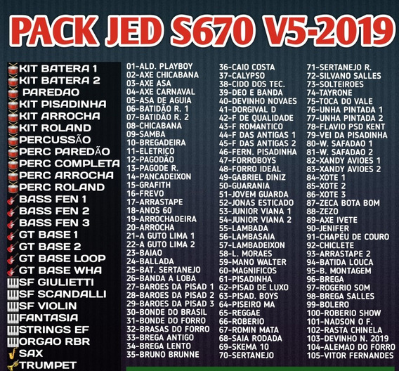 Pack Jed S670 V5-2019 + 106 Ritmos