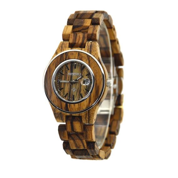 Relógio Madeira Bewell Original Zebrada Feminino