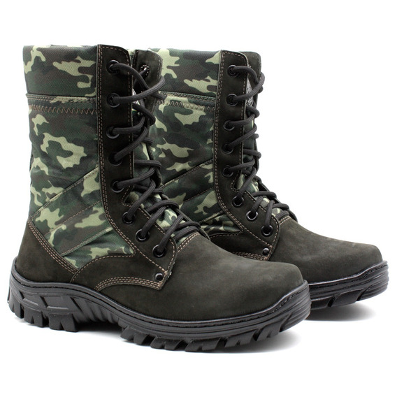 Coturno Militar Tático Unissex De Couro Bmbrasil 5150