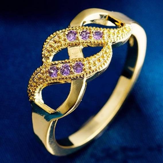 Anel Feminino Young Lady Purple Aro 17 Liga Met B. Ouro 10k