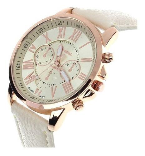 Relógio Pulseira De Couro Branca Feminino Rose Luxo Geneva