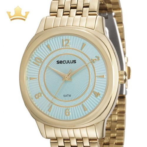 Relógio Seculus Feminino Analógico Dourado Original + Nf