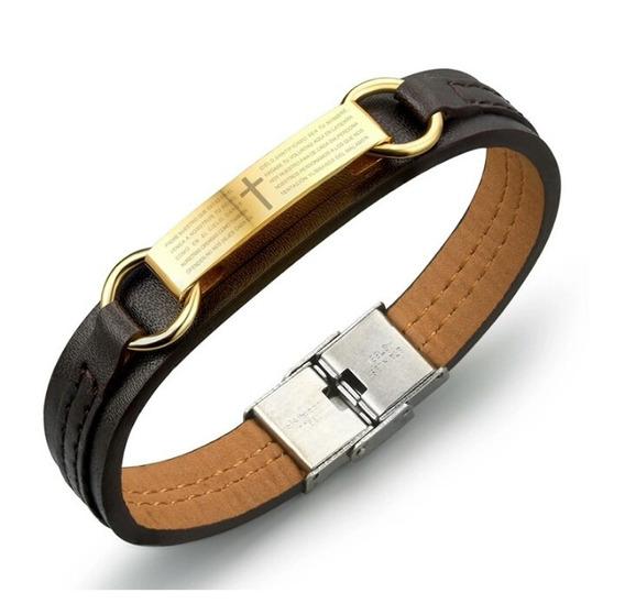 Pulseira Masculina Oração Pai Nosso Bracelete Couro Aço Inox