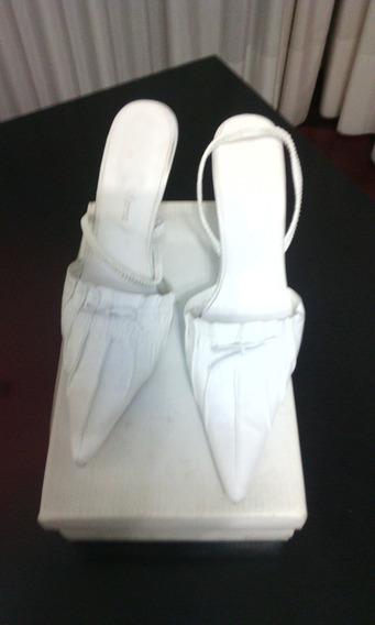 Zapatos De Cuero Blancos Nro 39 T /acrilico C/nuevo No Merc