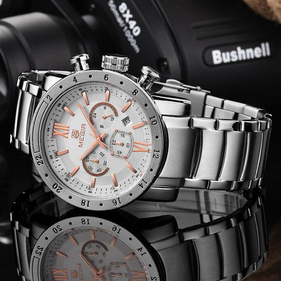 Relógio Megir 3008 Cronógrafo Aço Masculino Ponteiros Reais
