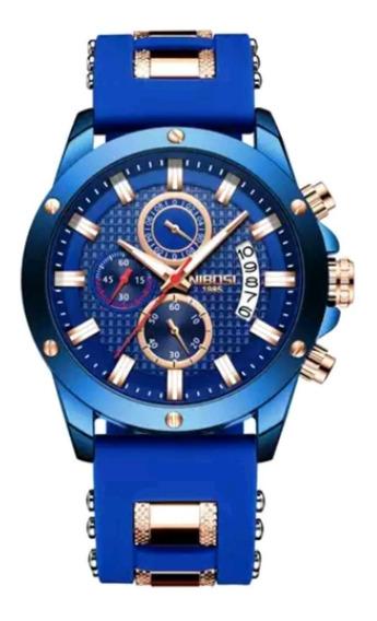 Relogio Super Esportivo Nibosi Barato Azul/azul Presente