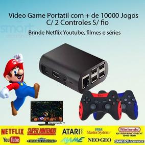 Video Game Retro 10mil Jogos 2 Controles S/fio 32gb 6.0 Rasp