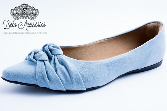 Sapatilha Comfort Azul Claro Bico Fino Nó Laço