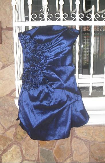 Vestido De Cóctel Azul Eléctrico Brillante, Talla L.