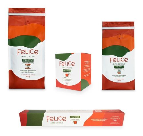 Cafés Felice - Drip + Cápsulas + Grão 500g + Café Moído 250g