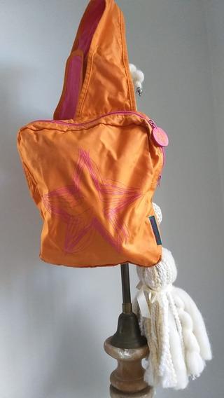 Mochila Con Cierre Naranja Y Rosa