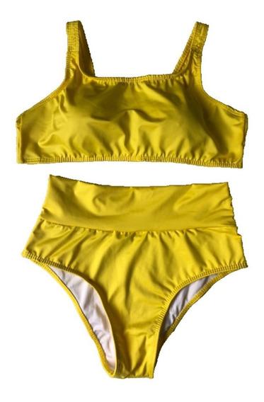 Biquíni Hot Pants Cintura Alta Com Cropped Regata Com Bojo