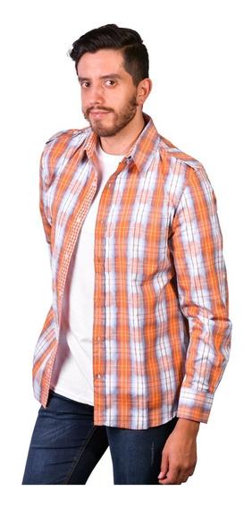 Camisa M/l Algodon 100% Con Charreteras 100% 53016