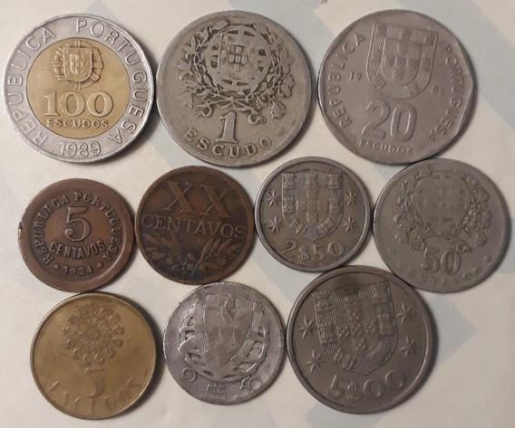 Lote X 10 Monedas Portugal. 1 De Plata Sin Fecha!!!