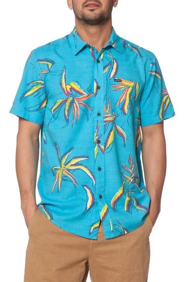 Camisa Manga Corta Volcom Playera Motel Floral Azul Floral