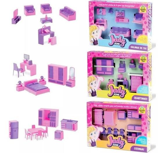 Kit Completo Casinha Brinquedo Quarto + Cozinha + Sala