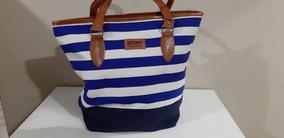 Bolsa Feminina Listrada Azul Com Branco Em Lona