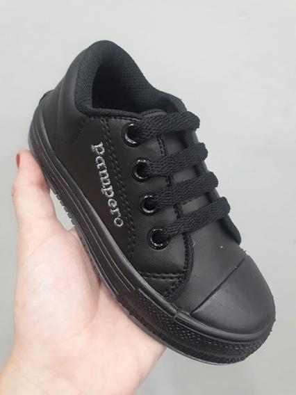 Zapatillas De Cuerina Con Cordon, Pampero Negras
