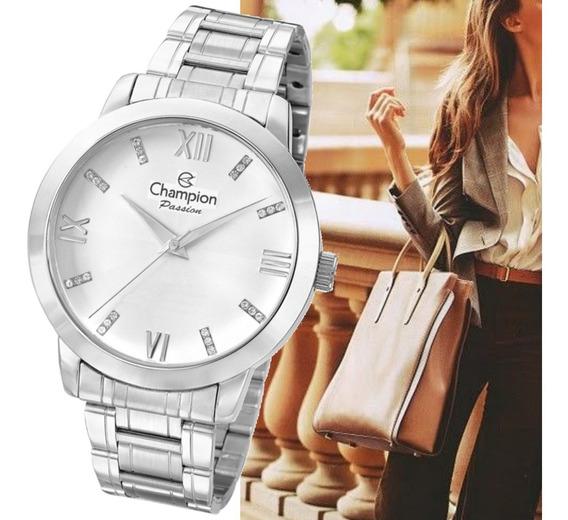 Relógio Prateado Champion Feminino Grande Original Cn29169q
