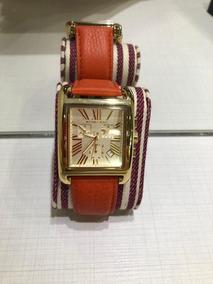 Relógio Quadrado Dourado Com Pulseira Em Couro Laranja