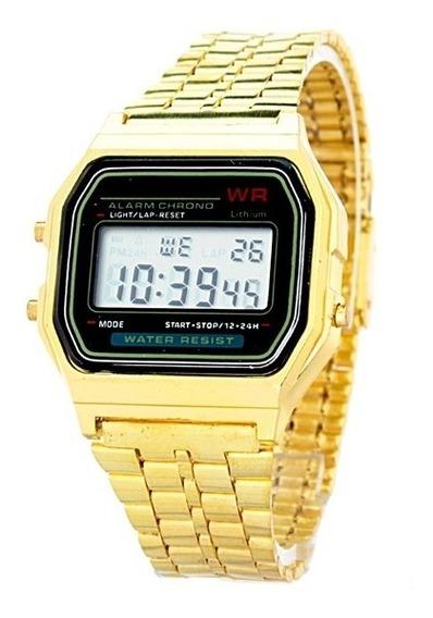 Reloj Mujer Caballero Vintage Retro Estilo Casio Digital Metalico Ajustable Color Dorado Negro - Relojes Unisex