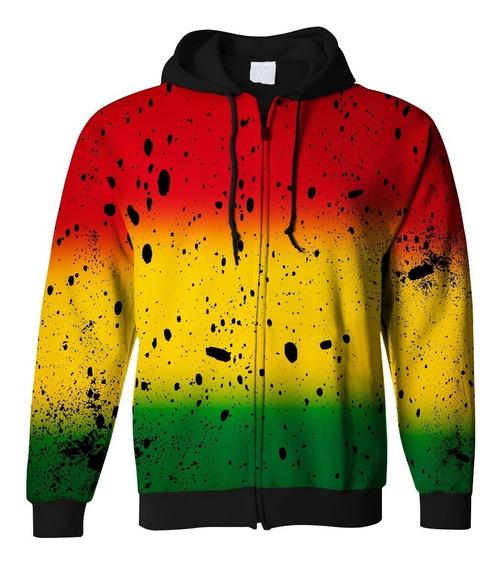 Agasalho Ziper Capuz E Bolso Reggae Bob Marley Swag Tumblr