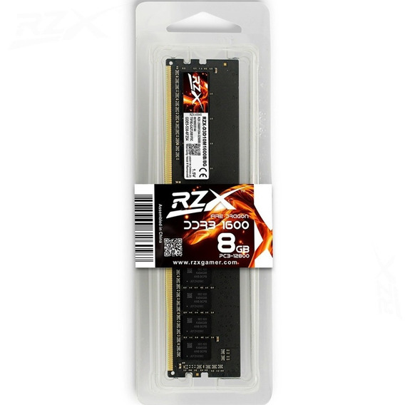 Memória Gamer 8gb Ddr3 1600mhz Rzx Rzx-d3d10m1600b/8g